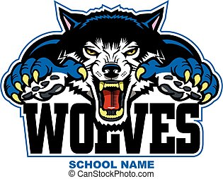 wolves mascot head with large claws design for school,...