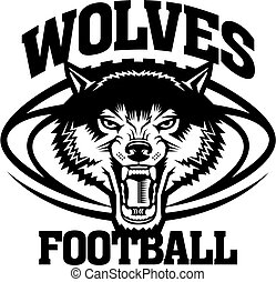 wolves football mascot team design for school, college or ...