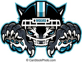 wolves football mascot wearing facemask, helmet and claws ...