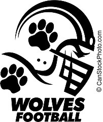 wolves football team design with helmet and paw print