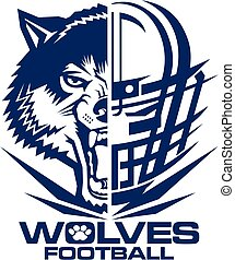 wolves football team design with mascot and facemask for school, college or league