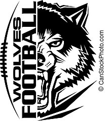wolves football team design with mascot and laces for school, college or league