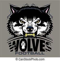 wolves football team design with mascot and laces for school...