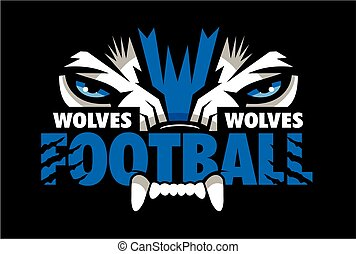 wolves football team design with mascot eye black for school...