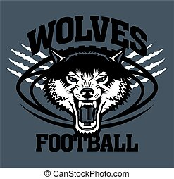 wolves football team design with mascot face inside ball for...