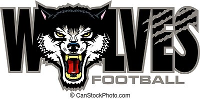 wolves football team design with mascot head for school, ...