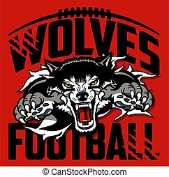 wolves football team design with mascot ripping through background for school, college or league