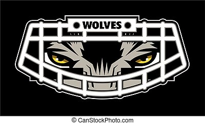wolves football team design with mascot wearing facemask for...