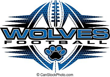 wolves football team design with paw print and ball for ...
