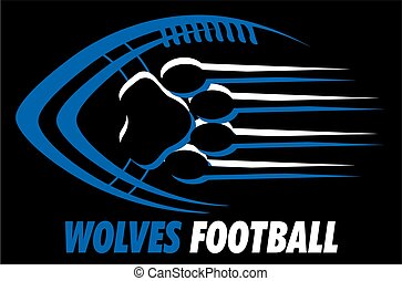 wolves football team design with paw print for school,...