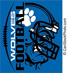 wolves football team design with paw print and helmet for...