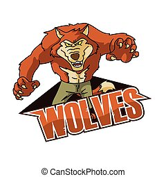 wolves illustration design colorful