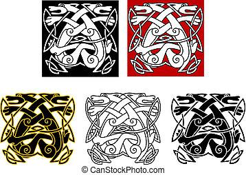 wolves, keltische stijl, van een stam