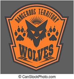 Wolves - military label, badges and design elements. Street...