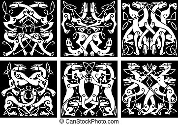 Wolves or dogs patterns with celtic ornament