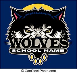 wolves team design with half mascot for school, college or ...