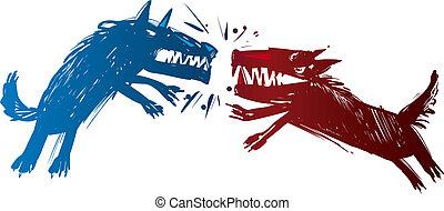 wolves, vecht, illustratie