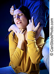 woma, 苦しみ, 濫用, から, 人, 家庭内暴力