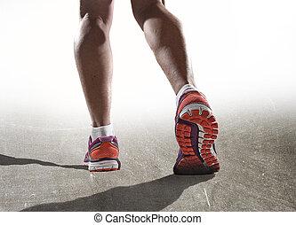 woman út, cipők, atlétikai, feláll, lábak, kocogás, sport, erős, női, becsuk, combok