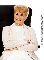 woman ügy, ülés, karosszék, öregedő, mosoly