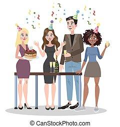 woman ügy, emberek, születésnap, együtt., birtok, ünnepel