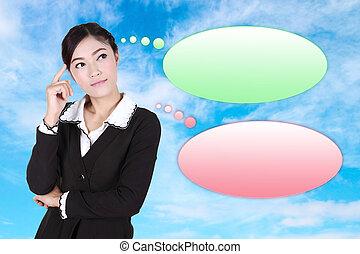 woman ügy, gondolkodó, sok, gondolat, buborék, üres