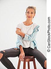 woman ül, el, nevető, kényelmes, lát