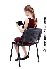 woman ül, ellenző, hát, lát, szék, kilátás