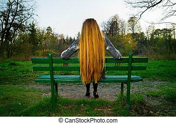 woman ül, liget, hát, bírói szék, haj, szőke