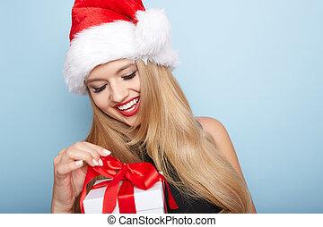 woman., クリスマス, santa