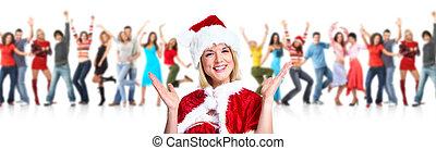 woman., パーティー。, クリスマス, santa, 幸せ