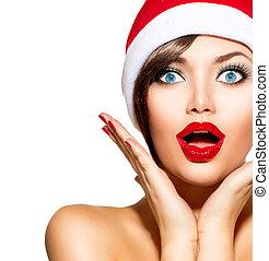 woman., 美しさ, クリスマス, santa, モデル, 帽子, 女の子