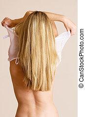 Woman #11 - Beatiful blonde woman undressing