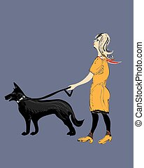 Woman A Dog