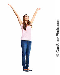 woman., aangeslagen gelukkig