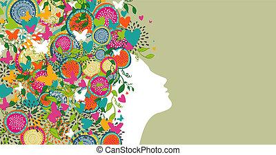 woman abstract hair design banner