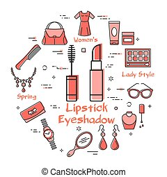 Woman Accessories Concept with Red Icons. Lipstick