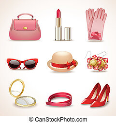 Woman fashion stylish casual shopping accessory collection icons set isolated vector illustration