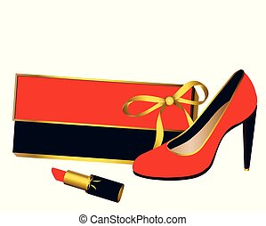 woman accessories,red, gold, black, isolated on a white