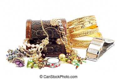 Accessory and jewelry in a wooden jewel chest, over white