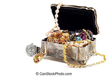 Accessory and jewelry in silver jewel chest, white background
