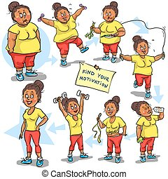 Woman achieving her Weight-Loss goal. Hand drawn funny ...