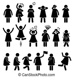 A set of human pictogram representing basic woman poses such as standing, shock, scared, angry, closing ear, eyes, mouth, raising hands, jumping, pulling hair out, facepalm, crying, needing to pee, walking, running, anxious, and unstable.