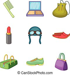 Woman activity icons set, cartoon style