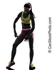 woman adjusting sportswear silhouette - one woman exercising...