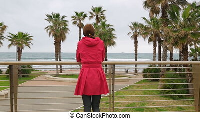 Woman admire beautiful seascape