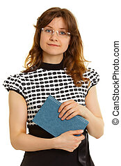 Woman - adult student with a book on white background