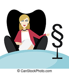 Woman advocate, lawyer sitting in red chair in his office. Flat vector.