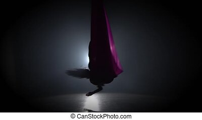 Woman aerial gymnast performing on violet silk in circus...