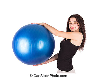 woman aerobics ball